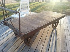 wooden cart with wheels | decorative garden cart / wheel barrow