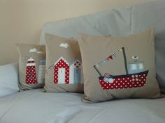 Set of 3 nautical linen applique cushion covers ..can also buy individually.. $130,00, via Etsy.