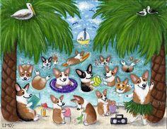 Corgi Beach Party! Original Lauren M. Davis art, Pembroke Welsh Corgi Dog Party…