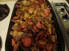 Cowboy stir fry This is a recipe I swiped from my hubby. I tweaked it a little to cook inside on my griddle and he loved it! That's good enough in my book. 2 pounds tenderized round steak 1 p… Wok Recipes, Steak Recipes, Grilling Recipes, Recipes With Round Steak, Skillet Recipes, Hibachi Recipes, Noodle Recipes, Party Recipes, Light Recipes