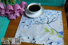 Placemat Morning lunch mat cotton blue and by Emurs on Etsy