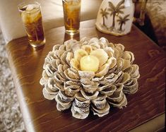 DIY Oyster shell bloom....need to find a good source for some shells, maybe call a local seafood restaurant for discarded oyster shells. And could also us black muscle shells!!: