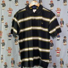 Black Striped Fred Perry Polo Shirt (L) Fred Perry Polo Shirts, Vintage Sportswear, Black Stripes, Tommy Hilfiger, Calvin Klein, Street Wear, Polo Ralph Lauren, Mens Tops, How To Wear