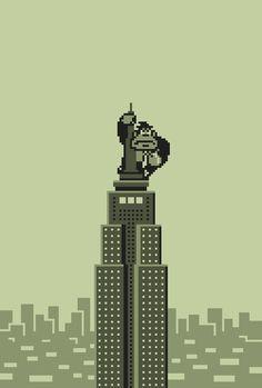gaming nintendo new york pixel art donkey kong gameboy 8 bit king kong King Kong, Retro Video Games, Video Game Art, Classic Video Games, Donkey Kong, Pixel Art, Images Star Wars, 8bit Art, Apple Watch Wallpaper