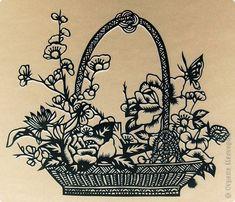Картина панно рисунок Вырезание Корзина цветов Бумага фото 1