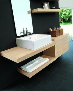 #Arcom #mobile #arredobagno Composto Da Un Piano In Rovere Moka, Lavabo  Appoggio E Base Sospesa.   I Mobili Bagno   Pinterest   Bath And Interiors