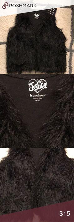 Justice faux fur vest🎀 Cute little black faux fur vest for girls size 8/10. Excellent condition! Justice Shirts & Tops