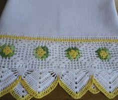 Pano de prato em tecido de sacaria, 100% algodão, com barrado de crochê. <br>Ideal para enxugar louças, decorar sua cozinha ou presentear.