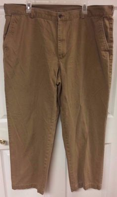 Brooks Brothers 346 Mens Casual Brown Khaki Pants Size W42/L32 42x32 Cotton EUC #BrooksBrothers #CasualPants