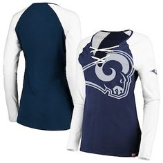cd05bc96b5a Los Angeles Rams Majestic Women s Long Sleeve Lace-Up V-Neck T-Shirt