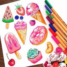 Летние яркие скетчи 🍦🍧🍓🍉🍰☀ #ArtBySilmairel #MyArt #Art #Artist #Illustration #Paint #Creative #Sketch #Liner #Markers #Stabilo #IceCream #Donut #CupCake #Sweets #Fruits #Berries #Strawberry #Cherry #Kiwi #Mandarin #Watermelon #Colorful #Summer #InstaArt #Сейчас_Рисую #ОдинДеньсХудожником