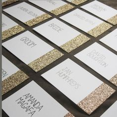 Glitter Dipped Place Cards: Gold, Silver or Pink glitter on your choice of card.