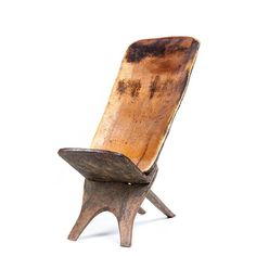 WOODEN CHAIR FROM COTE D'IVOIRE WITH CROCODILE CARVING