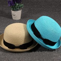 >> Click to Buy << Lovely Women Straw Bowler Derby Hat Summer All-Match Summer Roll Brim Family Cap #Affiliate