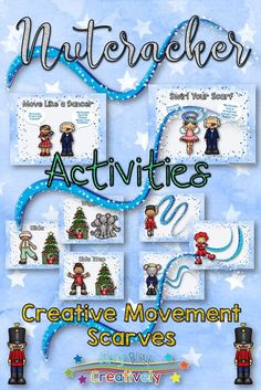 Creative Movement and Scarves like you've never seen!  All students will love the graphics! Directions and activity ideas included. https://www.teacherspayteachers.com/Product/Nutcracker-Creative-Movement-Scarf-Ribbon-Activities-or-Brain-Breaks-2908512