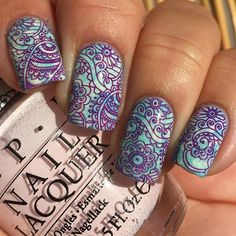 <img> Cool mandala stamping nail art using a base of a bible wrap mani using French Tip, INM Nails Dream on and Lets Be Friends then stamped with Mundo De Uñas Purple and - Orange Nail Designs, Gel Nail Designs, Cute Nail Designs, Trendy Nail Art, Cute Nail Art, Cute Nails, 3d Nails, Manicure Y Pedicure, French Pedicure