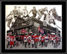 """Jeremy Bresciani pencil drawing """"Les Habitants"""" inspired by the Montreal Canadiens, their storied history, tradition & their fanbase. The piece captures the feeling of being a Habs fan on game day as fans walk toward both The Montreal Forum (left) & the Bell Centre (right). Ghosted in the sky above the arenas are 7 of the many great players that have captured the hearts of Habs' fans, including Jacques Plante, Maurice Richard, Jean Beliveau, Henri Richard, Ken Dryden, Guy Lafleur & Patrick…"""