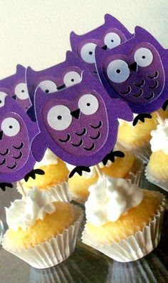 Purple Owl Cupcake Toppers  birthday party or baby by ThePaigeSpot, $9.00