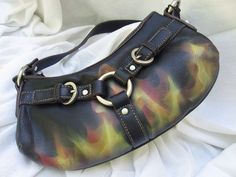 Faux leather handbag purse true fire flames hand painted airbrushed