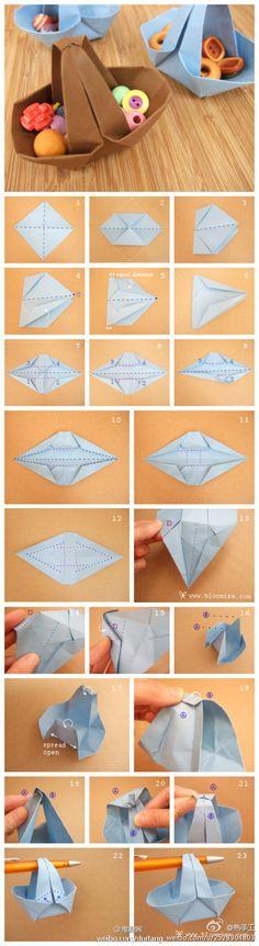 origami basket #tutorial