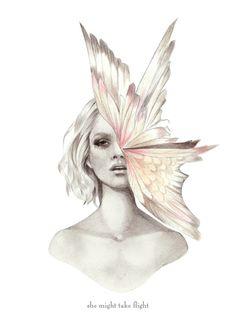 drawing girl and bird - Hľadať Googlom