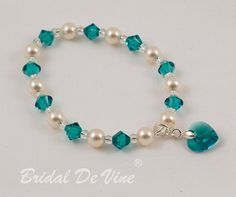 Bridesmaid Flower Girls Bracelet Teal Blue Zircon by BridalDeVine
