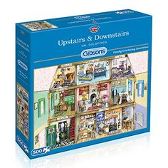 Gibsons Upstairs and Downstairs Jigsaw 500 Pieces Puzzle ** Check out the image by visiting the link. Felt Applique, Puzzle Board, 500 Piece Puzzles, Jigsaw Puzzles, Paper Crafts, Dollar General, Studio Apartment, Airmail, Current Events