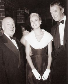Grace Kelly with Alfred Hitchcock and James Stewart, 1954