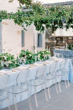 The Dreamiest Blue and Gold Wedding at a Private Villa in Paros, Greece Wedding Reception Themes, Marquee Wedding, Wedding Table Centerpieces, Wedding Decorations, Wedding Tables, Wedding Colors, Wedding Ceremony, Greece Photography, Bride Photography