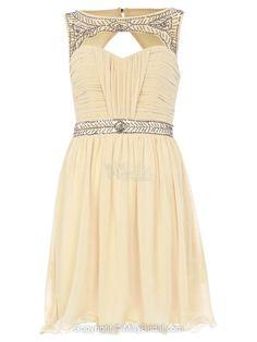 A-line Bateau Short/Mini Chiffon  Prom Dress With Sequin