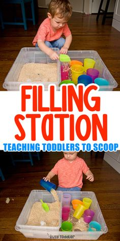 """Make a Simple """"Fill It Up"""" Station - quick and easy toddler activity #busytoddler #toddler #toddleractivity #easytoddleractivity #indooractivity #toddleractivities #preschoolactivities #homepreschoolactivity #playactivity #preschoolathome Baby Sensory Play, Sensory Activities Toddlers, Montessori Activities, Indoor Activities, Infant Activities, 2 Year Old Activities, Young Toddler Activities, Toddler Sensory Bins, Crafts Toddlers"""