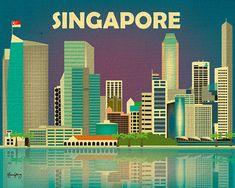 Singapore Skyline Horizontal Travel Destination by loosepetals