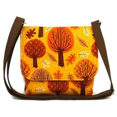 Small Tree Purse, Crossbody Bag, Autumn Pocketbook, Fabric Messenger... ($44) ❤ liked on Polyvore featuring bags, orange crossbody bag, crossbody messenger bag, brown cross body, courier bag and brown cross body bag