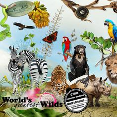 World's Greatest Wilds by Krysty Scrapbook Designs, My Scrapbook, Digital Image, Altered Art, Digital Scrapbooking, Christmas Ornaments, Wild Animals, Holiday Decor, World
