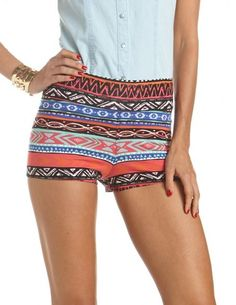 Aztec Print Cotton Spandex Short: Charlotte Russe. These would be cute swim suit bottoms!