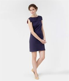Women's dress with boat-neck