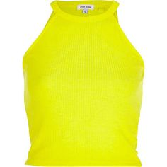 Yellow high neck ribbed crop top $10.00