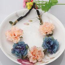 Letní Čechy Ruční Flower Crown Svatební věnec Svatební Čelenka Čelenka Čelenka vlasy kapela doplňky pro ženy Lady Girl (Čína (pevninská část))