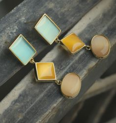 #blue, #mustard, #peach - #contemporay #earrings, now available at #fabindia