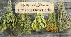 How to dry your own herbs: Drying your own herbs is really easy. All you need is some string or twine and a warm, dry place with hooks or pegs to hang...