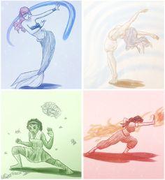 "Disney-bending by bealor.deviantart.com on @deviantART - Crossover between Disney and ""Avatar: The Last Airbender"". Ariel is a waterbender, Pocahontas is an airbender, Tiana is an earthbender, and Jasmine is a firebender."