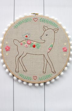 Floral Deer Embroide