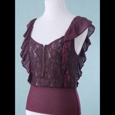 FREE PEOPLE Purple Lace Cap Sleeve Stretch Top 6 FREE PEOPLE Purple Lace Cap Sleeve Stretch Top Size 6 Small Free People Tops Blouses