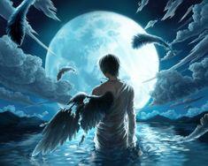 boy water wet blue hair feathers fallen male anime jewelry full moon cloud night sky kuroko no baske Wallpaper