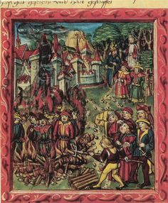 Jews (identifiable by rouelle) being burned at stake. From medieval manuscript.