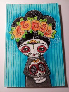 Frida Kahlo day of the dead Original mixed by meganksuarezartwork