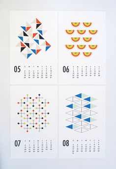 calendar wall calendar 2015 wall calendar shapes by dozi on Etsy