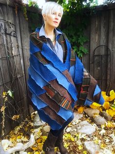 "The ""Fall Harvest"", #wool #wrap #nordic #bohemian #open #poncho by Northbound Wool Goods #wildflower #blue #squash #mapleleaf  #rustic #originaldesign #colorful #harvest #homestead #big #scarf #earthy #oversized #knit #folk #chic #primitive #minnesota #made #MadeinUSA #northcoast #style #womens #mens #ecofashion #original #design #buylocal #sweatshopfree #womanowned #freepeople #hippie #northwoods #apparel #frye #vintage #textiles #wearable #art #gift #artisan"