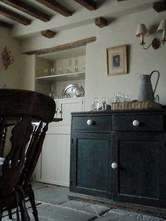 farmhouse kitchen - beams