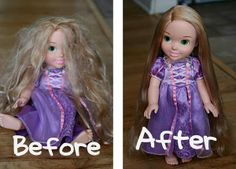 Parents of girls, take note.  A small spray bottle with 2 TBSP of fabric softener, the rest water = Doll Hairspray. Easy method for smoothing and renewing any dolls hair including Barbie! (Wouldve been nice to know!)